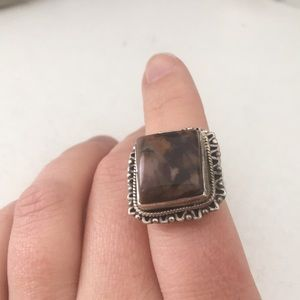 Jewelry - Metal cocktail ring with large brown stone